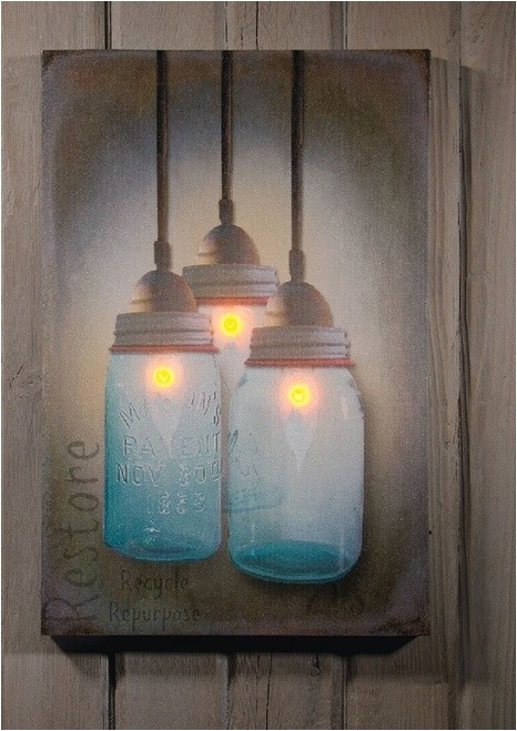 radiance lighted canvas with timer mason canning jars with candles
