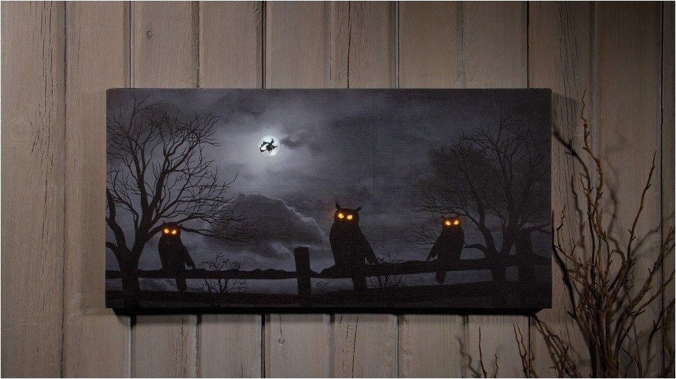 Radiance Lighted Canvas Flickering Light Canvas Owl O Ween Night Radiance Lighted Canvas Halloween X46568