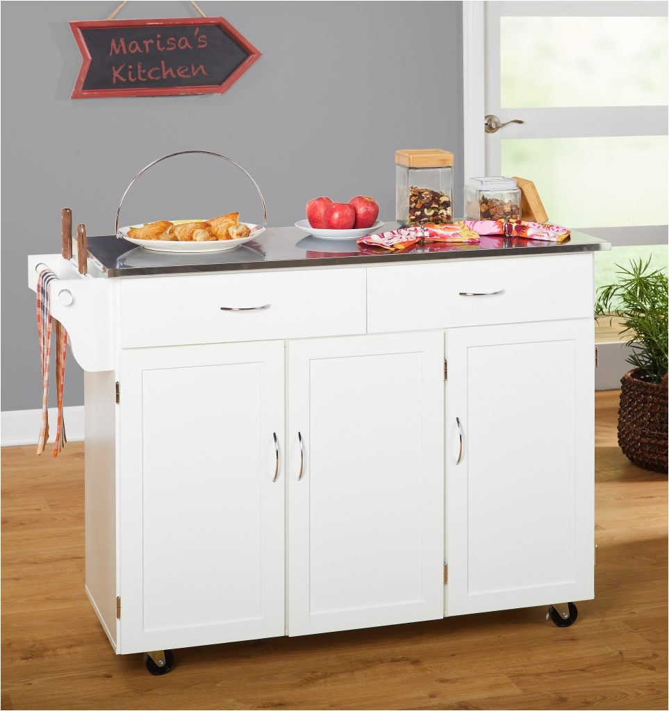 real simple rolling kitchen island in white 36 5