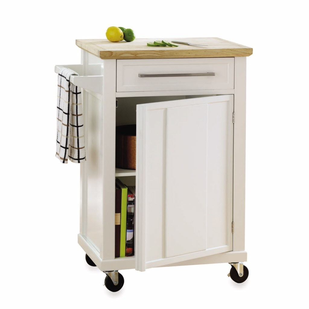 three wood topped kitchen cart