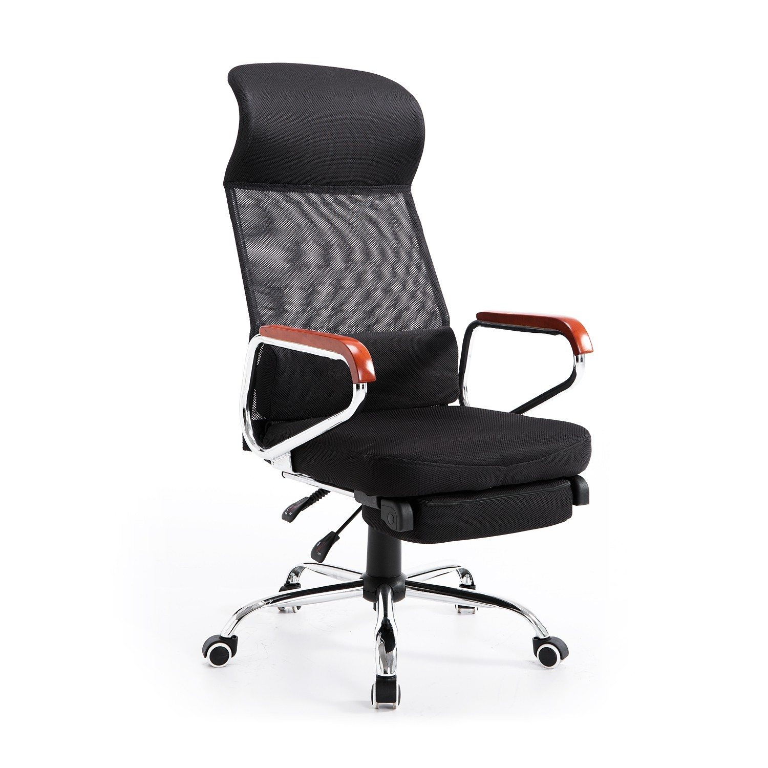 homcom mesh high back reclining office chair with foot rest black