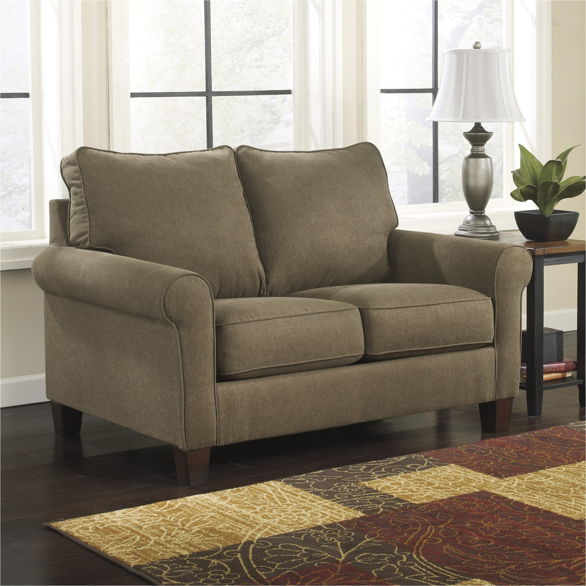 simmons flannel charcoal sofa
