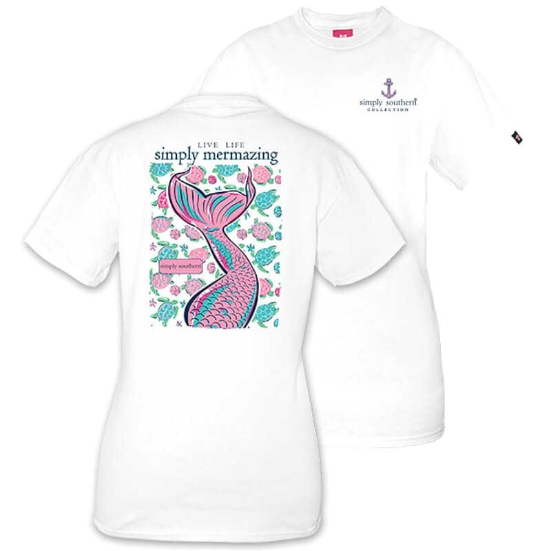 simply southern preppy collection mermaid t shirt for women in white preppymermaid white p24282