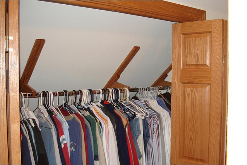 closet rod bracket angled ceiling