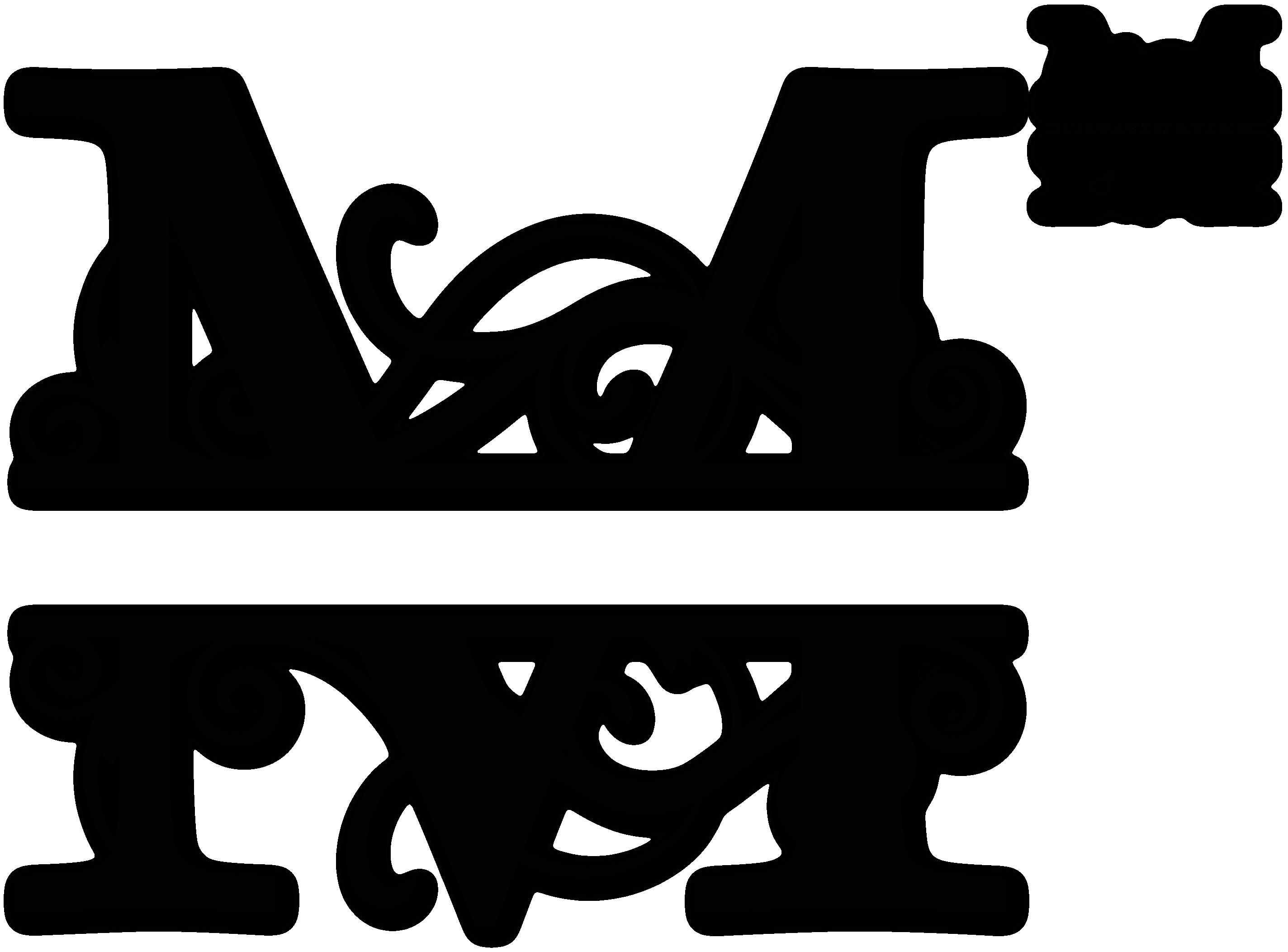 Split Letter Monogram Free M Split Monogram Sds M Split Monogram 0 99