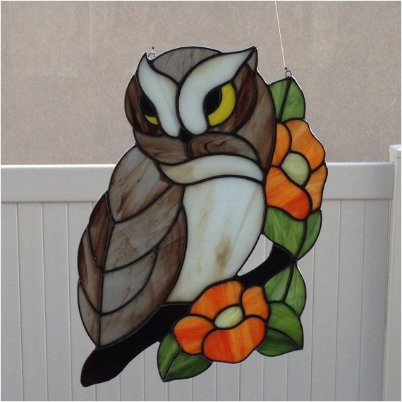 stained glass owls eagles