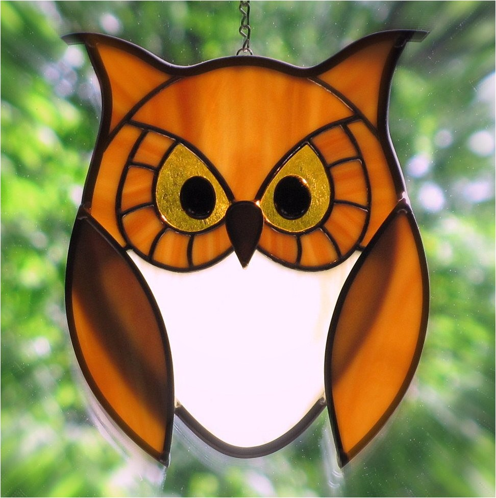 stained glass golden owl with golden