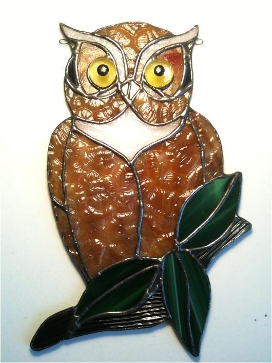 stain glass birds owls