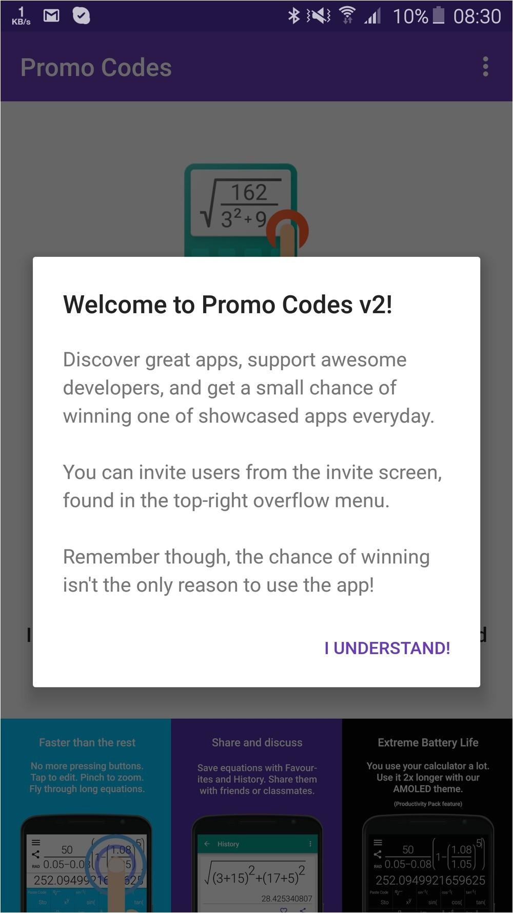 promo codes v2 un app