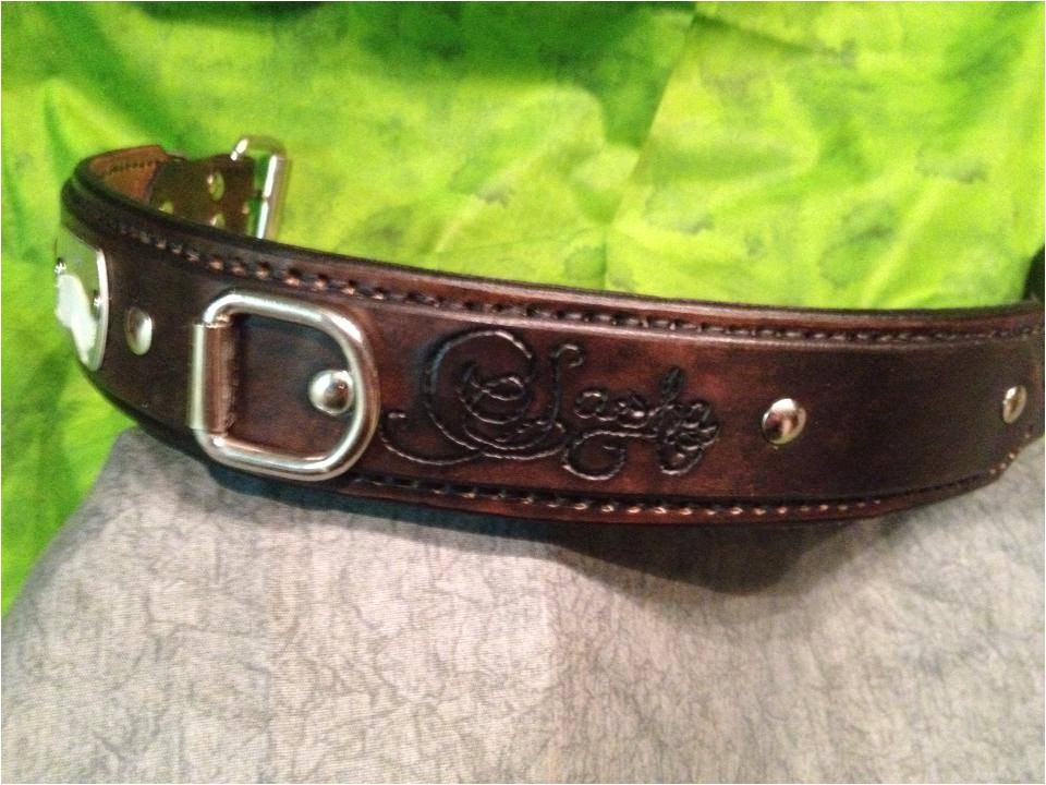 personalized hand tooled leather dog
