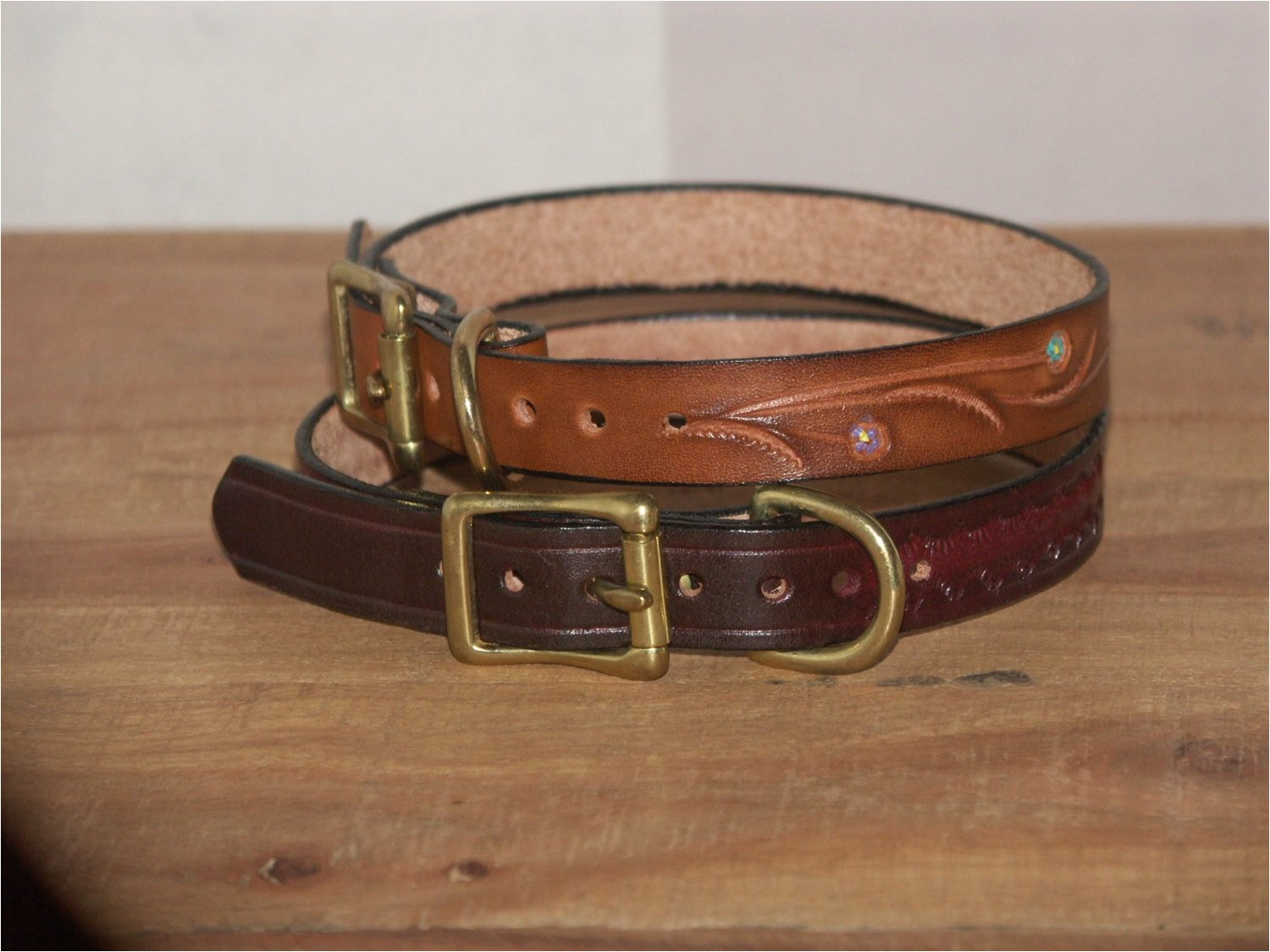 hand tooled leather dog collars 10 12