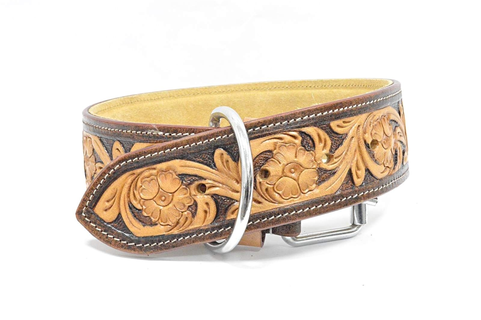 luxury hand carved tooled natural wide leather dog collar padded brown tan 5206 p