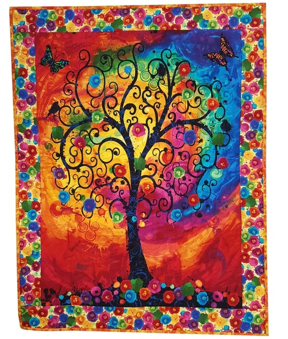 quilted wall hanging bright tree of life