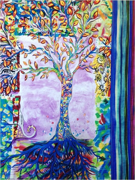 wall art modern art quilted tree of life