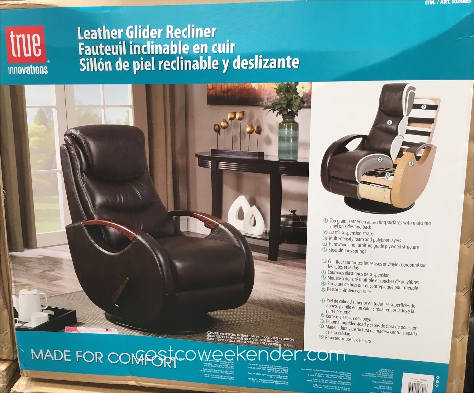 true innovations leather swivel glider recliner costco 1024885 costco product info