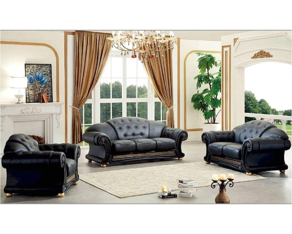 black living room set classic versace