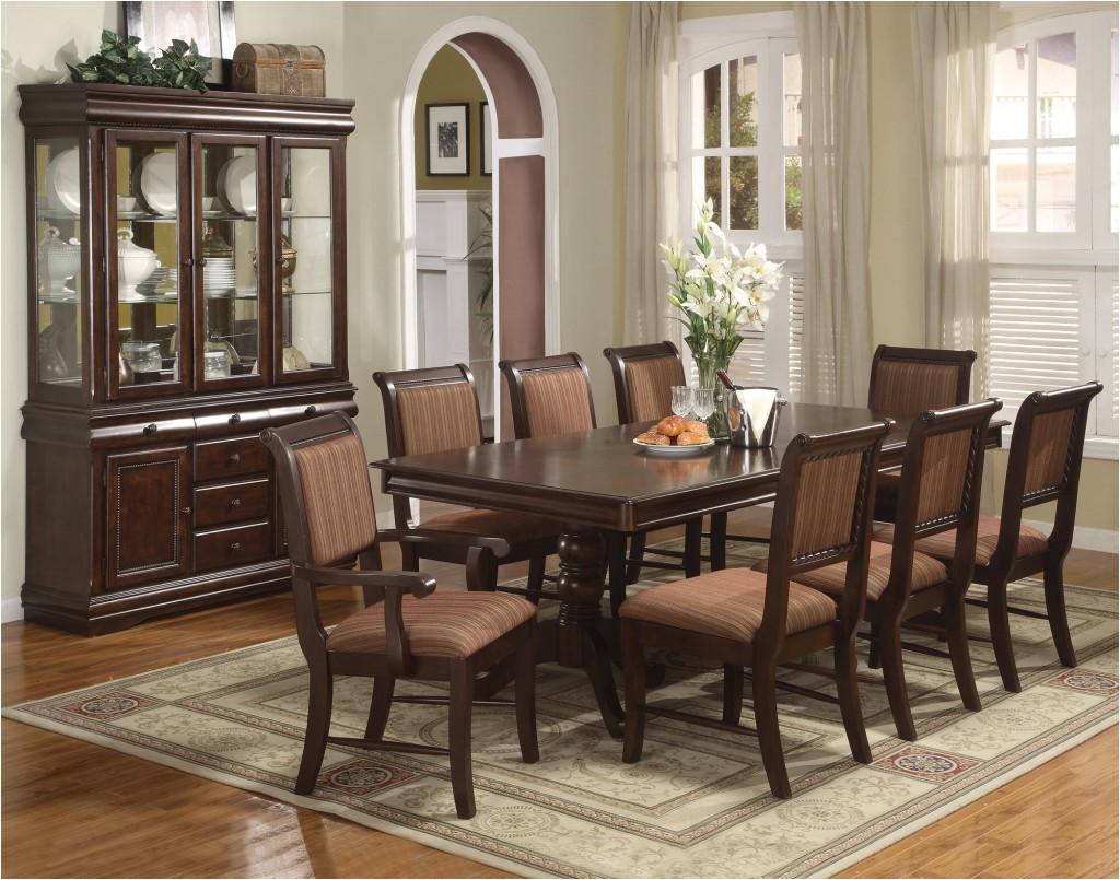 marvelous thomasville dining room wooden dining table buffet vas flowers tools glasses cream wall rug ceramic floor