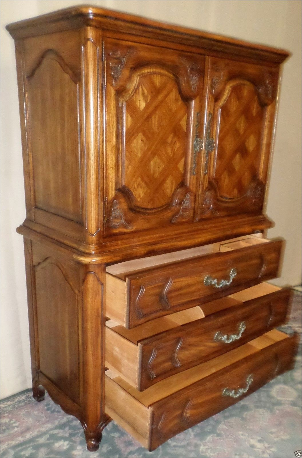 thomasville oak armoire gentlemans chest french provincial style 371715086848