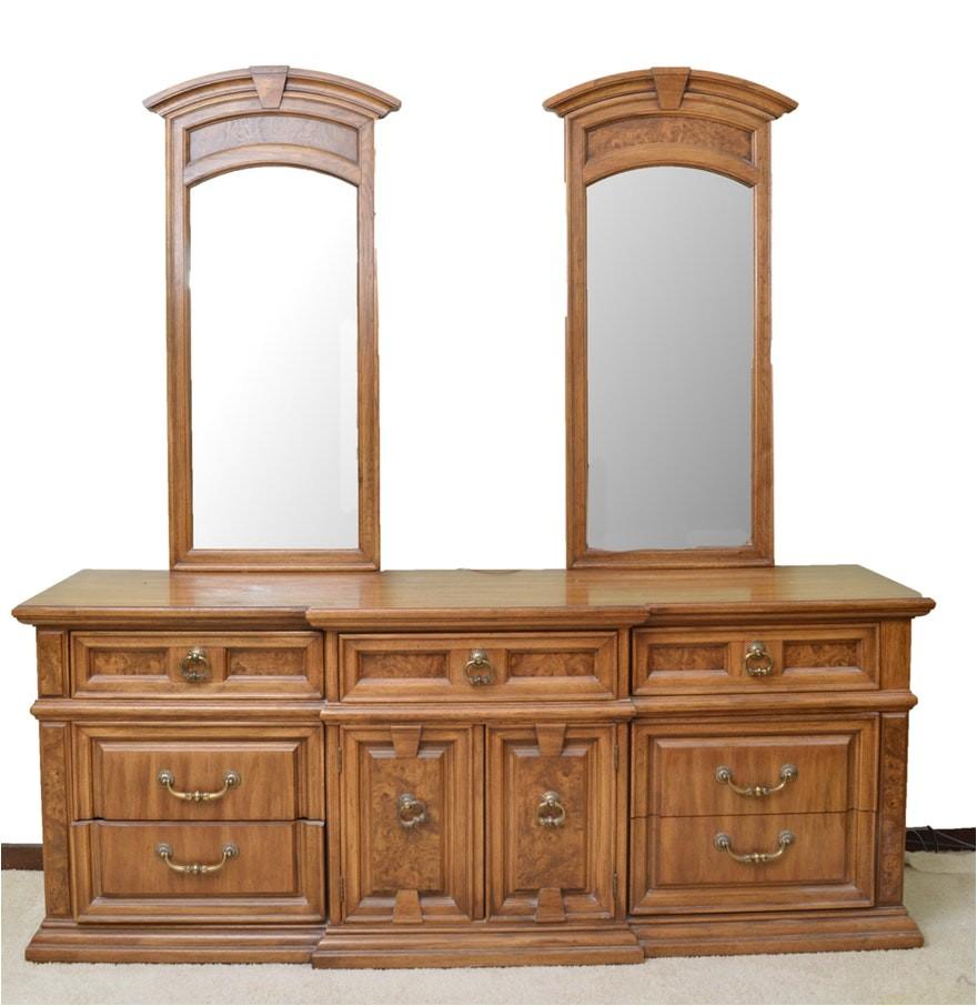 4141432 vintage burled oak veneer double mirror dresser by thomasville