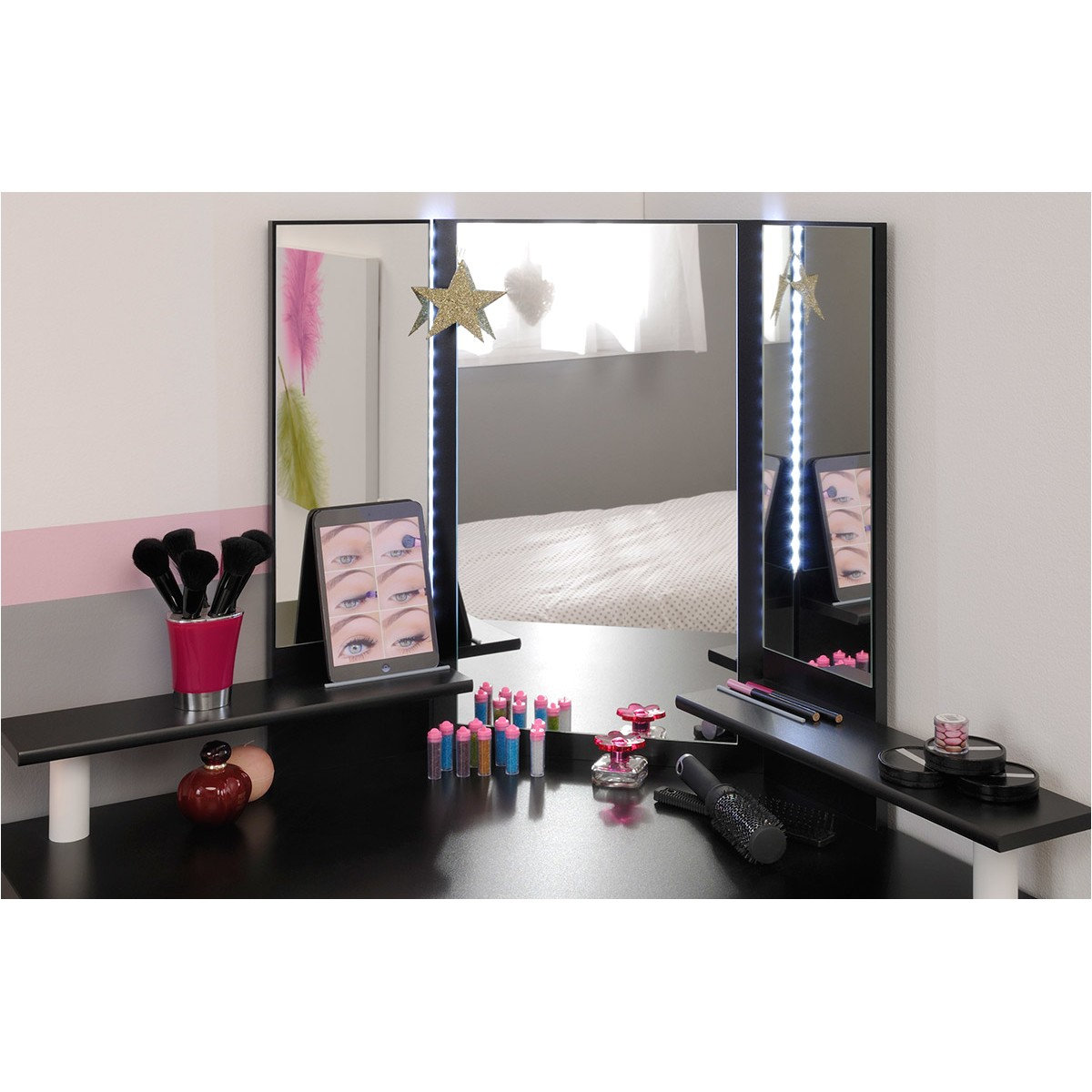 parisot volage makeup vanity with mirror fris1329