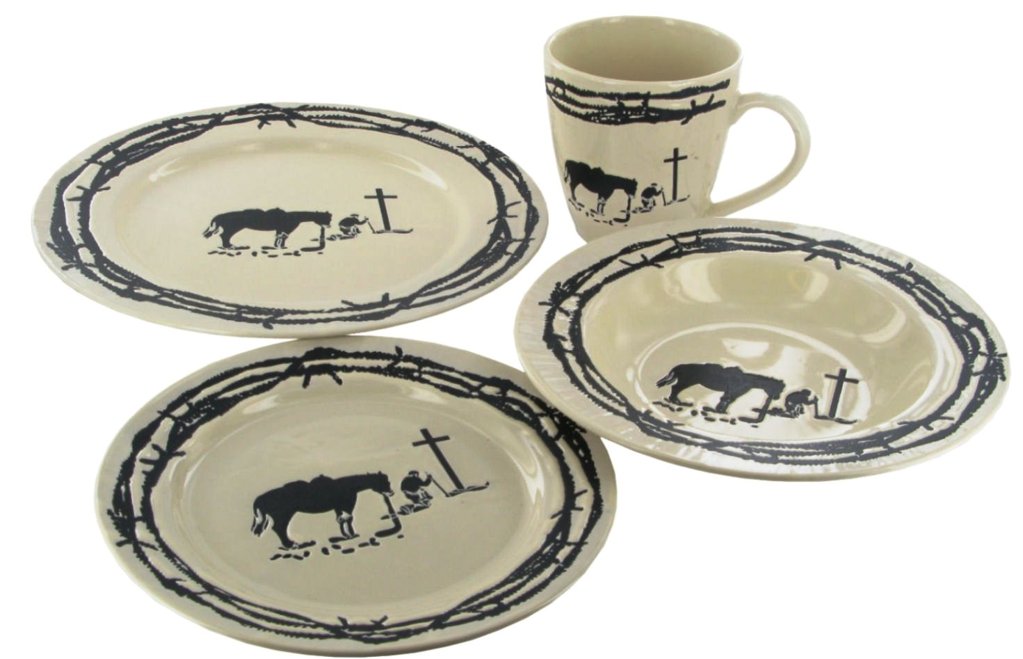 western praying cowboy dinnerware set creme rwsa9127