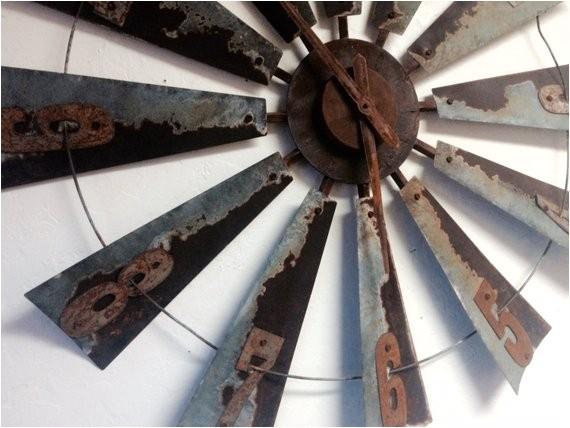 38 inch metal windmill clock farmhouse