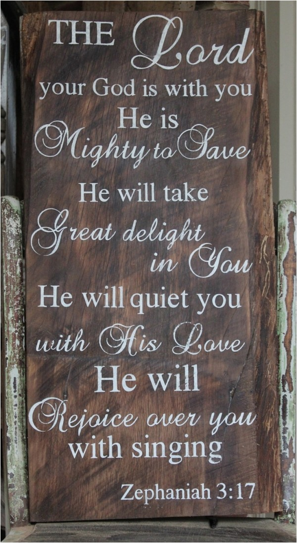 handpainted barn wood with bible verse sig