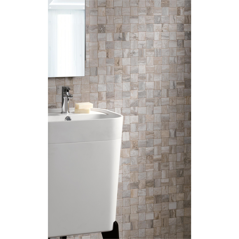 12 X 12 Antique Mirror Tiles Travertino Grigio Porcelain Mosaic 12 X 12 100222058 Floor and