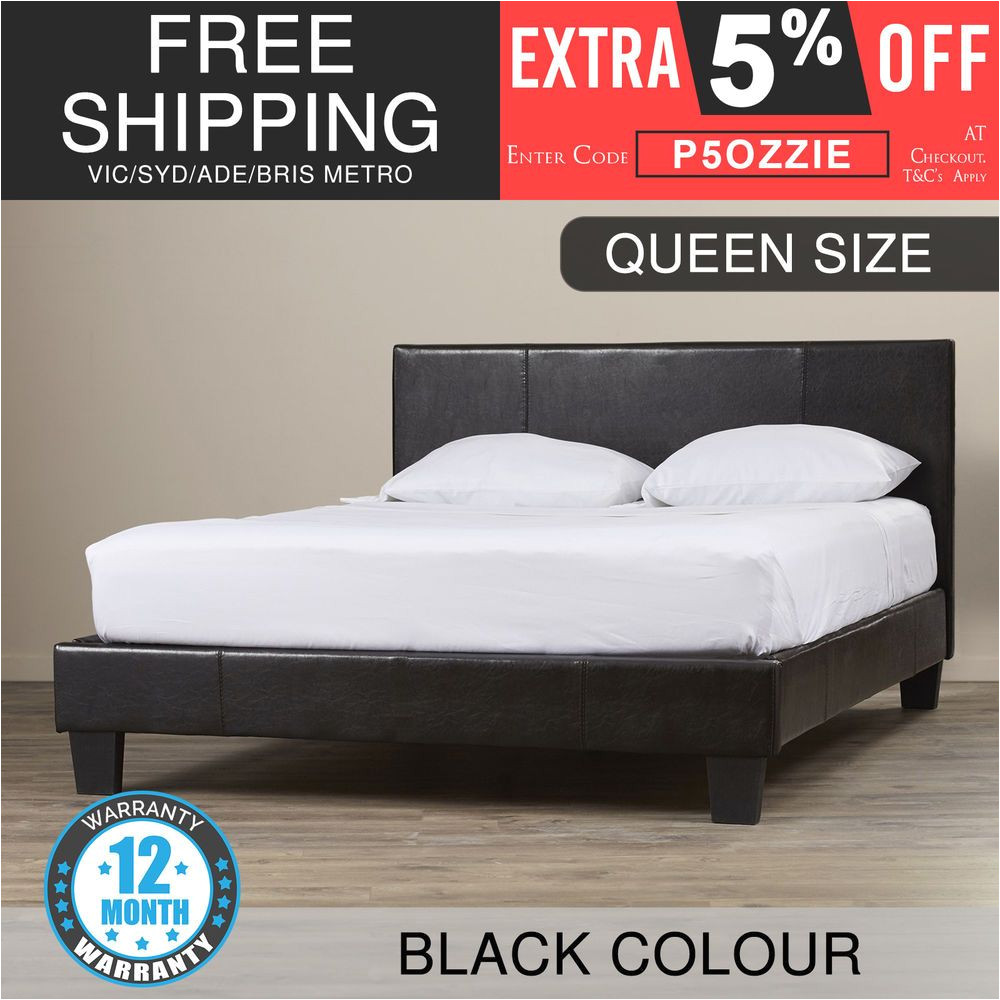 Extra Sturdy Queen Bed Frame New Bed Frame Queen Size Pu Leather Wooden Slat High Padded Head