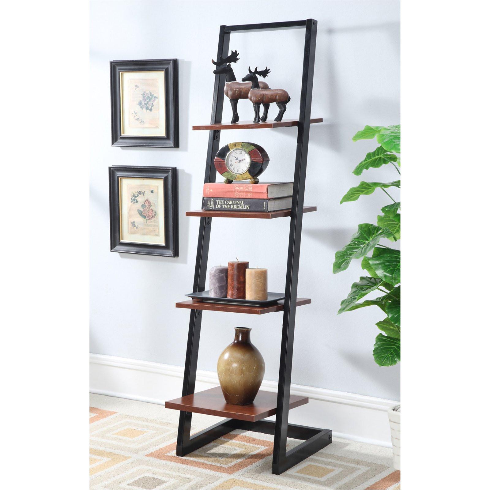 Metal Storage Shelves at Walmart Convenience Concepts Designs2go 4 Tier Ladder Bookshelf Walmart Com