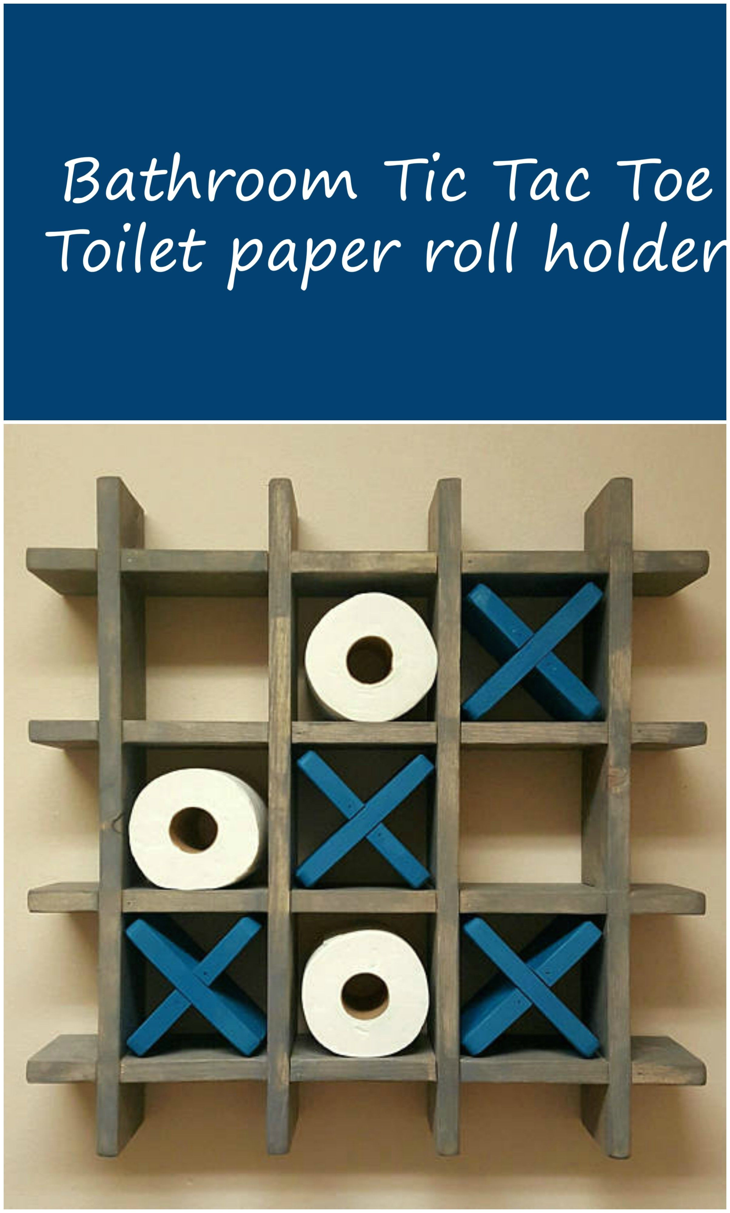 Tic Tac toe toilet Roll Holder Bathroom Tic Tac toe Game Made to order toilet Paper Roll