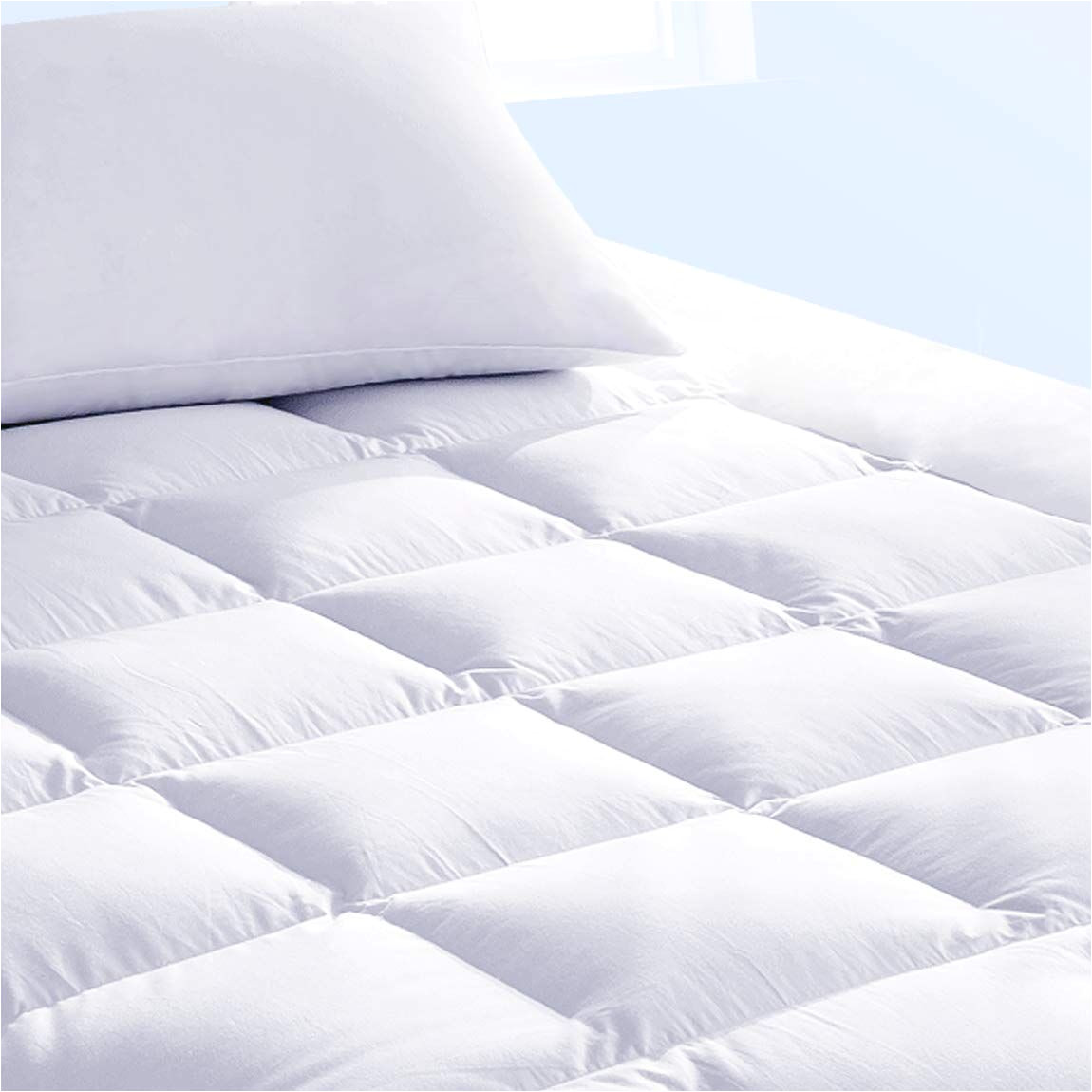 What is the Difference Between Down and Down Alternative Pillow Pure Brands Mattress topper and Mattress Pad Protector In One