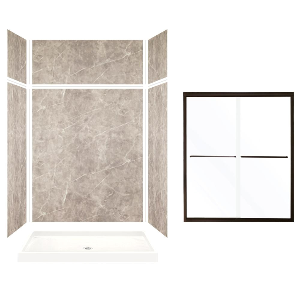 Corian Shower Walls Home Depot Transolid Expressions 32 In X 60 In X 96 In Center Drain Alcove
