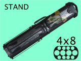 4×8 Hard Pool Cue Case Pool Cue Case 4 butt 8 Shaft Black Blue with Stand C48p05
