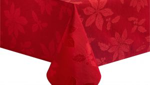 60 X 84 Tablecloth Fits What Size Table Poinsettia Legacy Damask Christmas Tablecloth Red 60 X 84