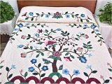Amish Tree Of Life Quilt Pattern Rose Blue and Green Tree Of Life Applique Quilt