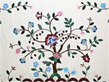 Amish Tree Of Life Quilt Pattern Rose Blue and Green Tree Of Life Applique Quilt Photo 3