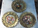 Antique Oval Picture Frames with Bubble Glass 10 Set Of 3 Vintage Brass butterfly Round Frame with Floral Prints