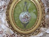 Antique Oval Picture Frames with Bubble Glass Reduced Vtg Gold Gesso Framed Porcelain Fragonard Style Young Lovers