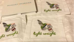 August Morgan Cocktail Napkins Set 4 Light Weight Hummingbird Hand Embroidered Cocktail Napkins
