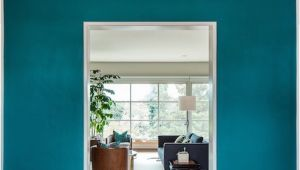 Benjamin Moore Galapagos Turquoise 2057-20 Galapagos Turquoise Walls and Ikat Rug Interiors by Color