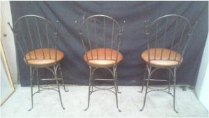 Charleston forge Iron Bar Stools Charleston forge Shaker Arch Iron Bar Stools Chairish
