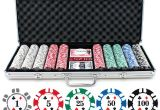 Clay Poker Chip Sets with Denominations 13 5g 500pc Double Stripe Suited Clay Poker Chip Set P 636