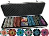 Clay Poker Chip Sets with Denominations 500 Pcs Casino Quality Pure Clay Poker Set for Home Game