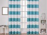 Corner Window Curtain Rods Home Depot Surfside Teal Cabana Stripe Cotton Grommet top Window Curtain Eh7957