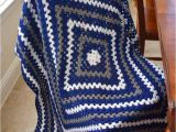 Dallas Cowboys Colors Yarn Crochet Granny Square Lap Blanket In Dallas Cowboys Colors