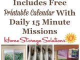 Declutter 365 From Home Storage solutions 101 Free Printable January Decluttering Calendar with Daily 15 Minute