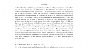 Destin Fl Sales Tax Rate Pdf Optimal Fuel Tax and Heterogeneity Of Cities