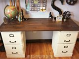Diy Desk with File Cabinet Pottery Barn Inspired Desk Using Goodwill Filing Cabinets In 2019