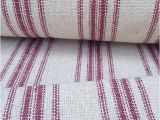 Feedsack Fabric by the Yard Grain Sack Fabric Red Stripes Vintage Inspired sold by the